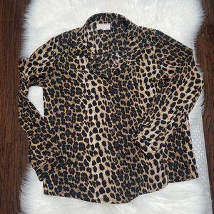 Womance | Leopard Print Button Front Blouse Top S